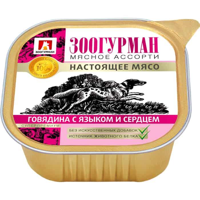Консервы Зоогурман Мясное Ассорти Говядина с языком и сердцем для взрослых собак 300г