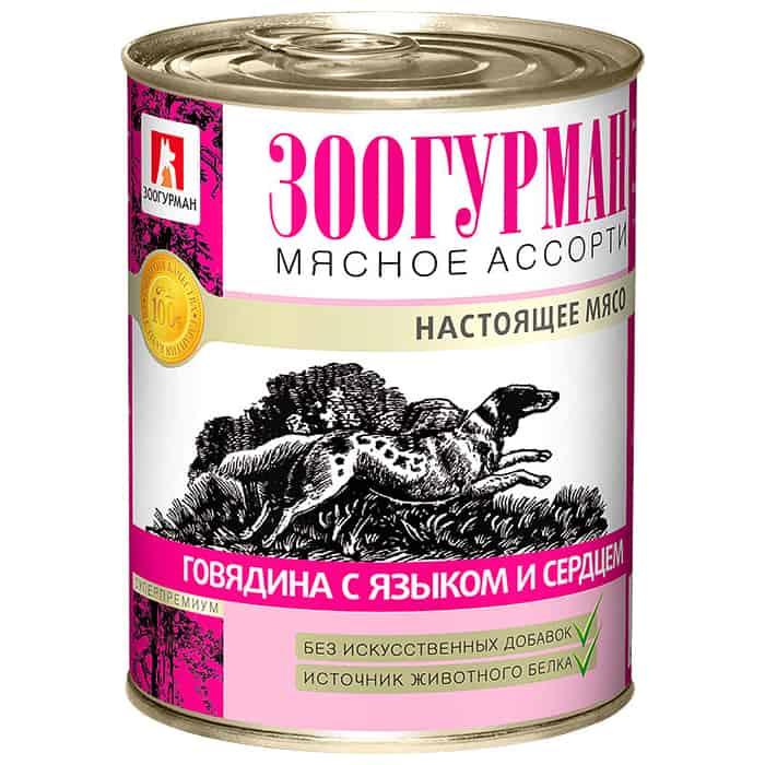 Консервы Зоогурман Мясное Ассорти Говядина с языком и сердцем для взрослых собак 350г