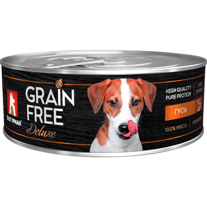 Консервы Зоогурман Grain Free Беззерновой с гусем для взрослых собак 100г