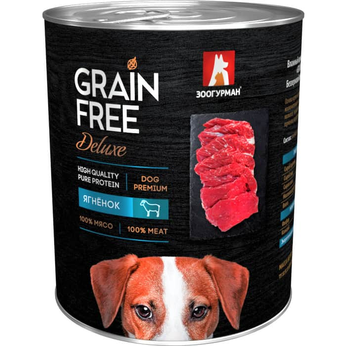 Консервы Зоогурман Grain Free Беззерновой с ягненком для взрослых собак 350г