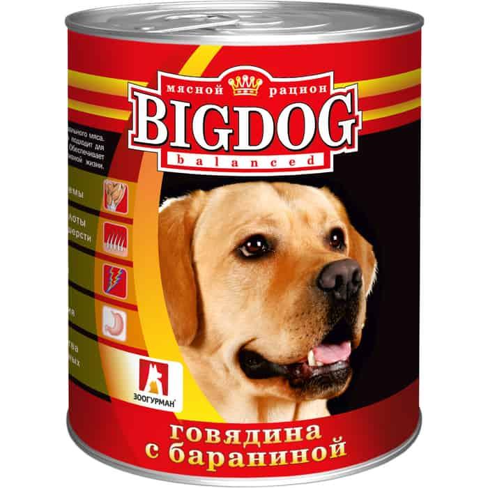 Консервы Зоогурман BIG DOG Говядина с бараниной для взрослых собак 850г