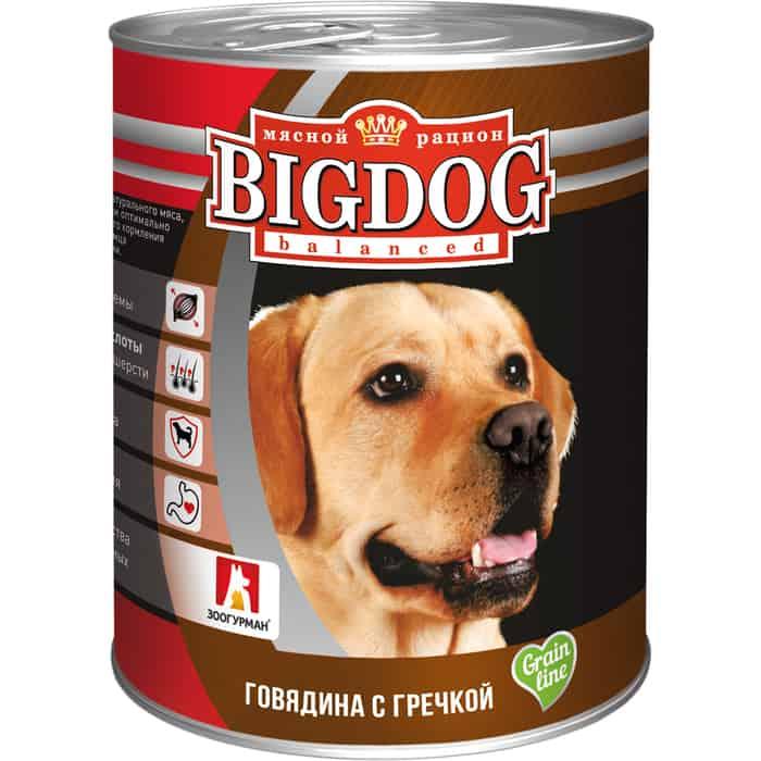 Консервы Зоогурман BIG DOG Говядина с гречкойдля взрослых собак 850г