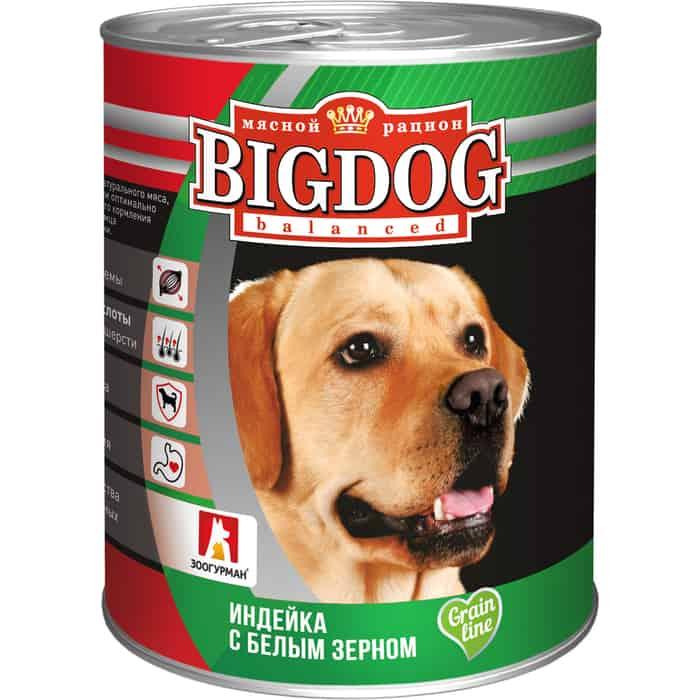 Консервы Зоогурман BIG DOG Индейка с белым зерномдля взрослых собак 850г