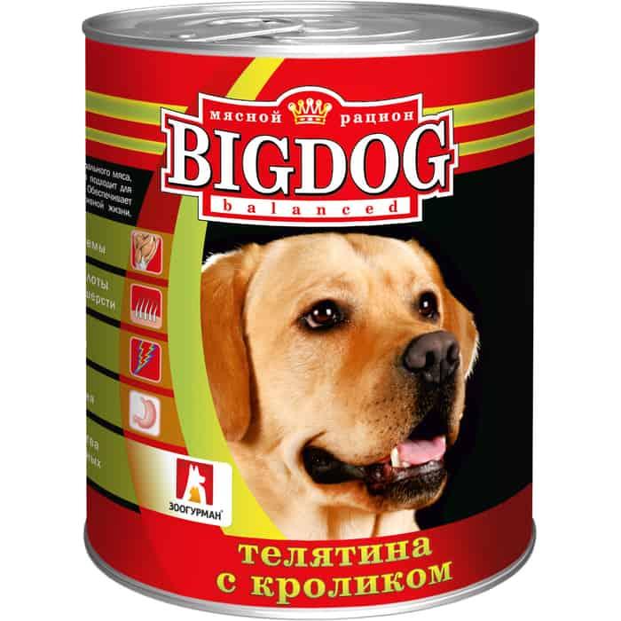 Консервы Зоогурман BIG DOG Телятина с кроликомдля взрослых собак 850г