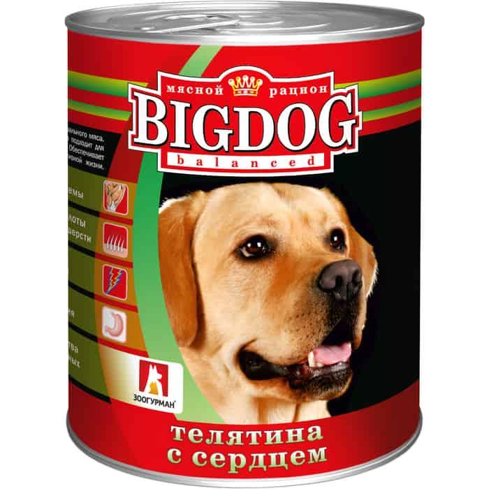 Консервы Зоогурман BIG DOG Телятина с сердцемдля взрослых собак 850г