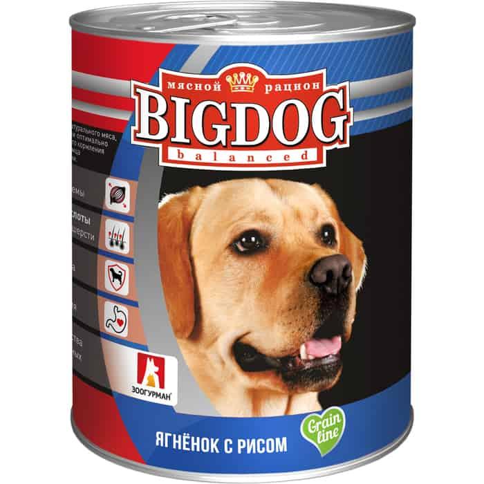 Консервы Зоогурман BIG DOG Ягненок с рисом для взрослых собак 850г