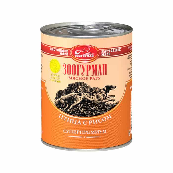 Консервы Зоогурман Мясное Рагу Птица с рисом для взрослых собак 350г