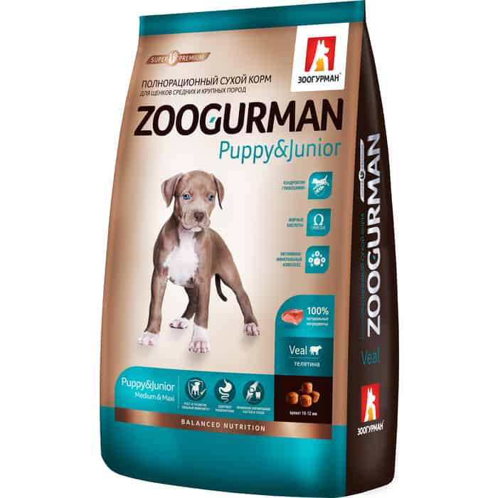 Сухой корм Зоогурман Телятина для щенков средних и крупных пород 3кг