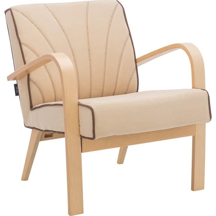 Кресло для отдыха Мебель Импэкс Шелл натуральное дерево, ткань Verona vanilla, кант brown