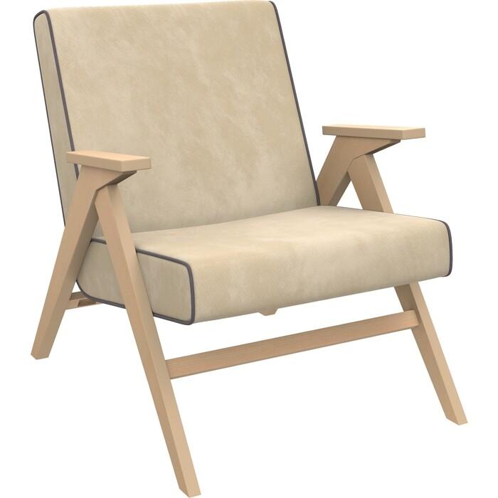 Кресло для отдыха Мебель Импэкс Вест натуральное дерево ткань Verona vanilla, кант antrazite grey