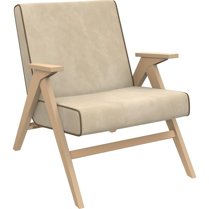 Кресло для отдыха Мебель Импэкс Вест натуральное дерево ткань Verona vanilla, кант brown