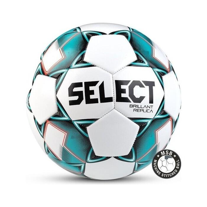 Мяч футбольный Select Brillant Replica арт. 811608-004, р.4, 32пан, гл.ПВХ, маш.сш, бел-бирюз-черный