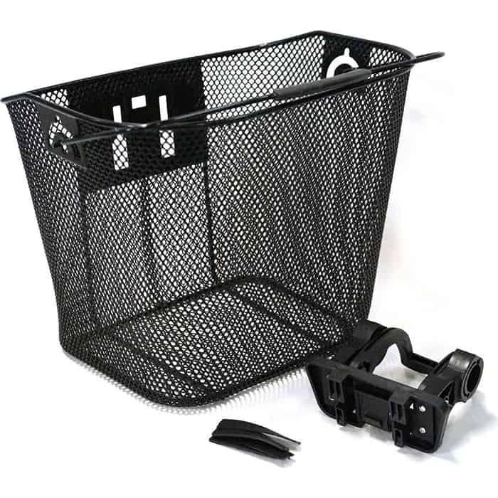 Велокорзина JOY KIE на руль, HT-209 быстросъемная с креплением руль,сталь, ручка для переноски, черная