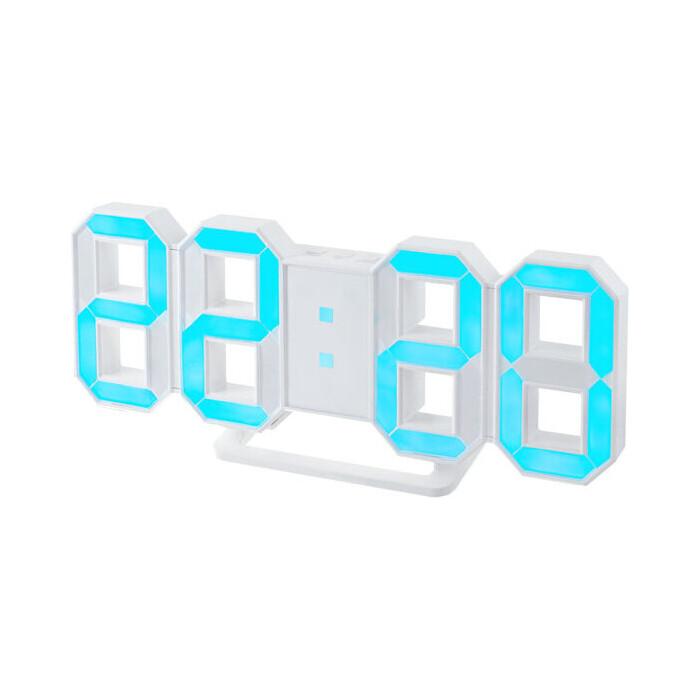 Часы-будильник Perfeo LUMINOUS белый корпус / синяя подсветка (PF-663)