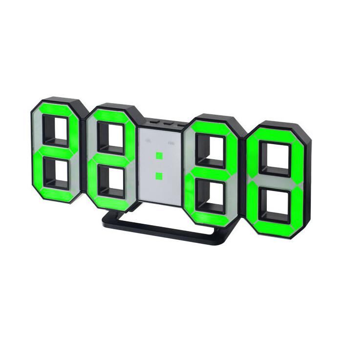 Часы-будильник Perfeo LUMINOUS черный корпус / зелёная подсветка (PF-663)