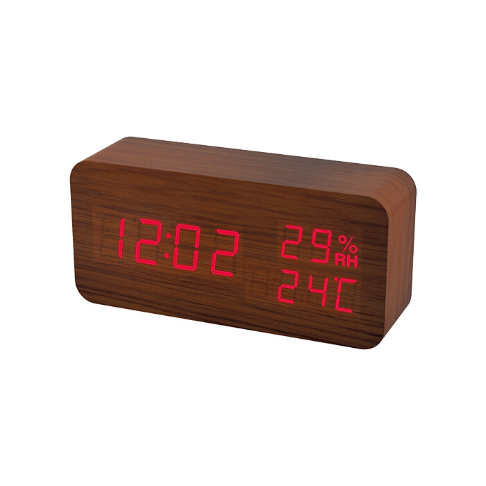 Часы-будильник Perfeo Wood коричневый корпус / красная подсветка (PF-S736) PF_A4391