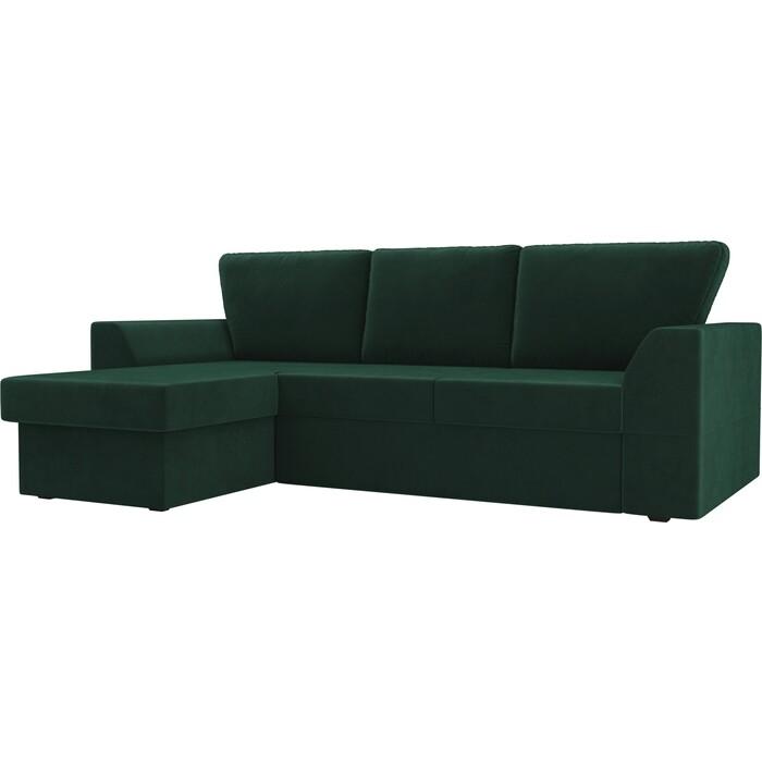 Диван угловой Лига Диванов Морган велюр зеленый левый угол диван еврокнижка лига диванов честер велюр черный вставка голубая