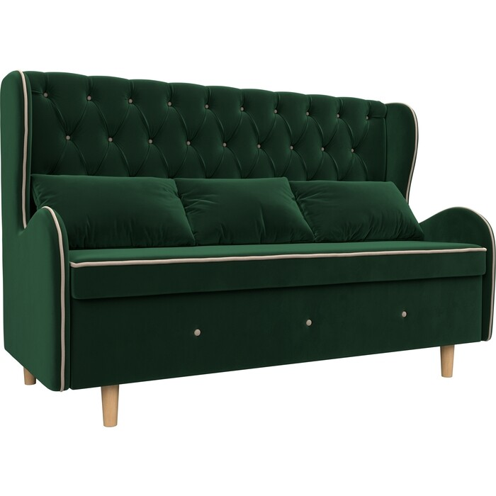 Кухонный прямой диван АртМебель Сэймон Люкс велюр зеленый