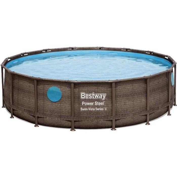 Каркасный бассейн Bestway 56725 BW ротанг 488х122 см 19480л фильтр-насос 5678 л/чтент лестница
