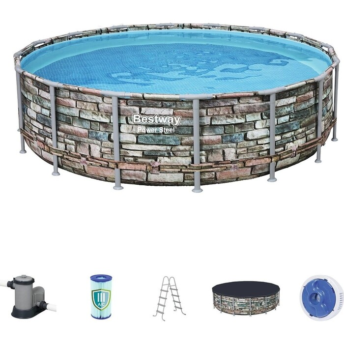 Каркасный бассейн Bestway 56966 BW Камень 488x122 см фильтр-насос тент лестница попл.-дозатор