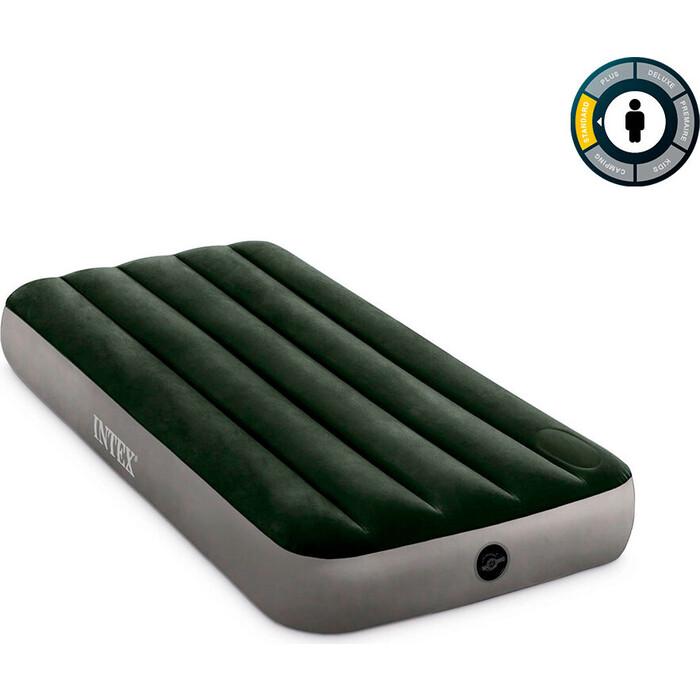 Надувной матрас Intex 64760 Downy Airbed 76х191х25 см со встроенным ножным насосом