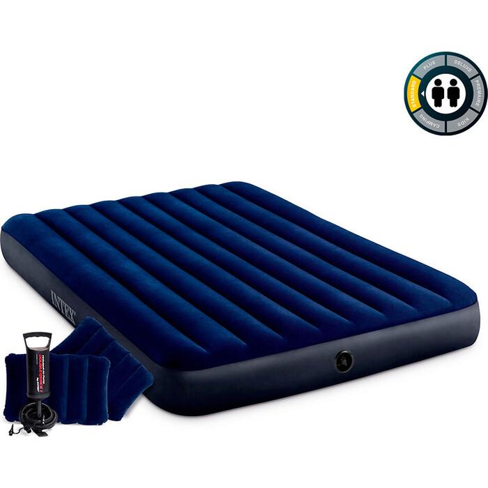 Надувной матрас Intex 64765 Classic Downy Airbed Fiber-Tech 152х203х25 см с подушками и насосом