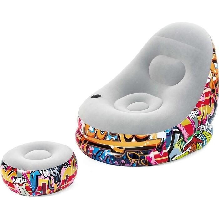 Надувное кресло Bestway 75076 BW Graffiti Comfort Cruiser 121x100x86 см с пуфиком 54х54х26