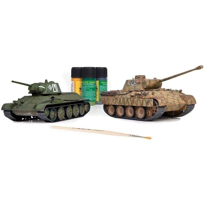 Сборная модель Звезда Великие противостояния Т - 34 против Пантеры (сборка без клея), 1/72 ZV 5202