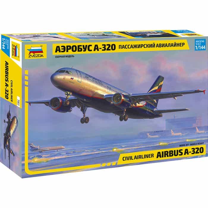 Сборная модель Звезда Гражданский авиалайнер Аэробус А - 320, 1/144 ZV 7003