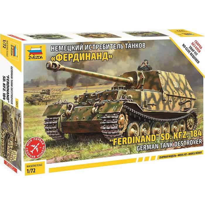 Сборная модель Звезда Немецкий истребитель танков Фердинанд (сборка без клея), 1/72 - ZV 5041