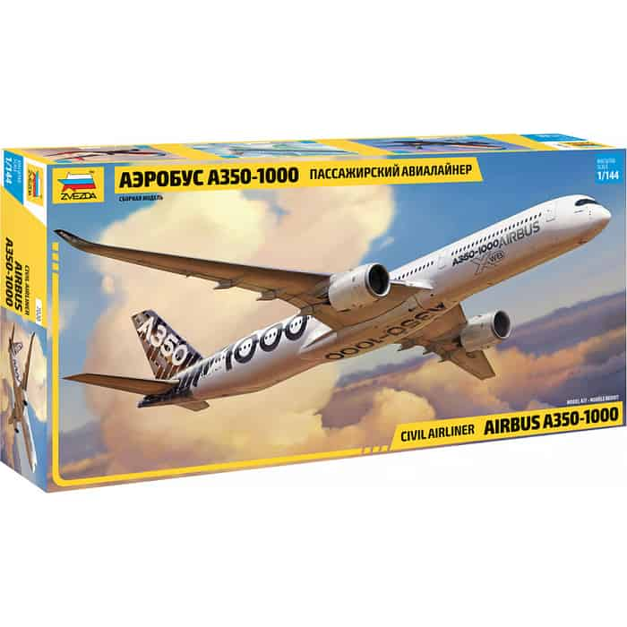 Сборная модель Звезда Пассажирский авиалайнер Аэробус А - 350 1000, 1/144 ZV 7020