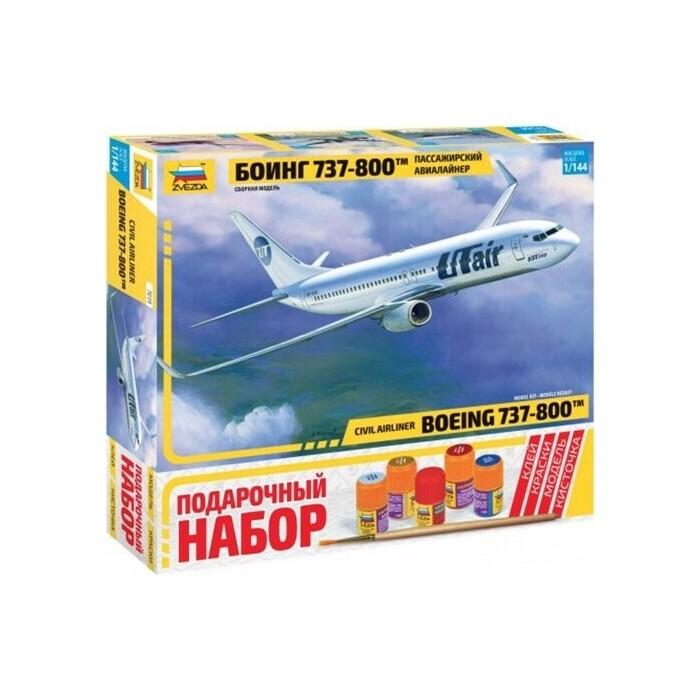 Сборная модель Звезда Пассажирский авиалайнер Боинг 737 - 800, подарочный набор, 1/144 ZV 7019П