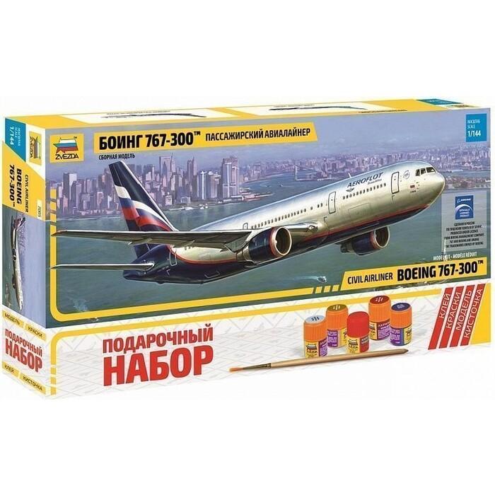 Сборная модель Звезда Пассажирский авиалайнер Боинг 767 - 300, подарочный набор, 1/144 ZV 7005П