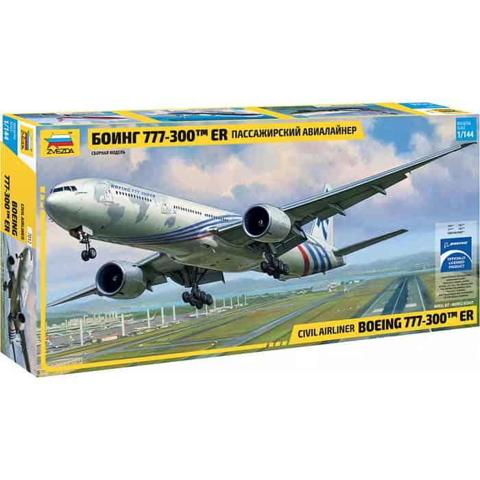 Сборная модель Звезда Пассажирский авиалайнер Боинг 777 - 300 ER, 1/144 ZV 7012