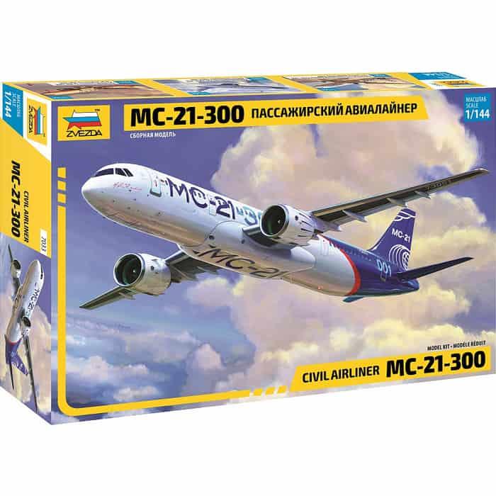 Сборная модель Звезда Пассажирский авиалайнер МС - 21 300, масштаб 1:144, ZV 7033