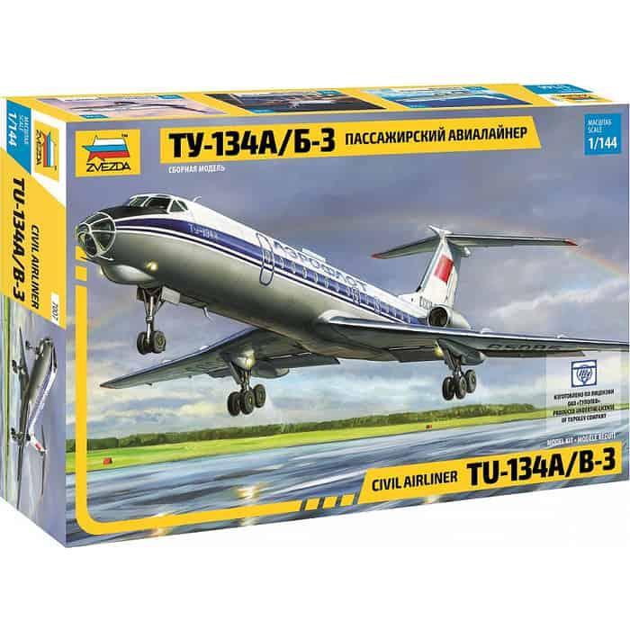Сборная модель Звезда Пассажирский авиалайнер Ту - 134А/Б 3, 1/144 ZV 7007