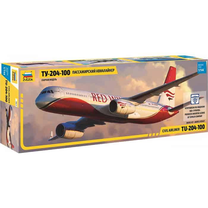 Сборная модель Звезда Пассажирский авиалайнер Ту - 204 100, 1/144 ZV 7023