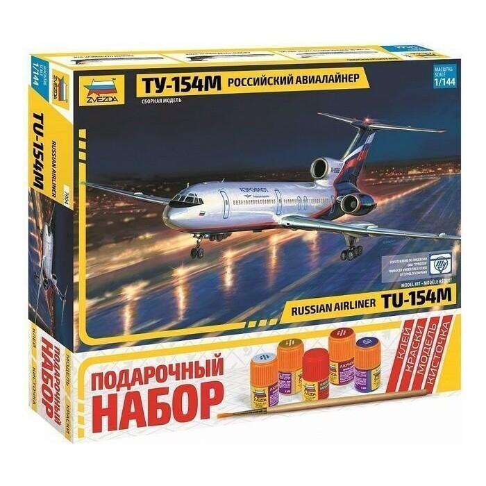 Сборная модель Звезда Российский авиалайнер ТУ - 154М, подарочный набор, 1/144 ZV 7004П
