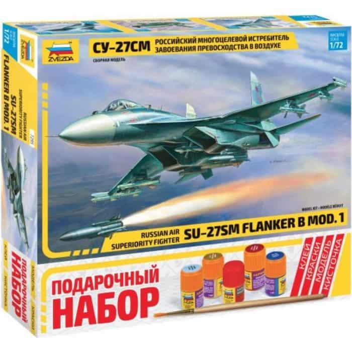 Сборная модель Звезда Российский многоцелевой истребитель Су - 27СМ, подарочный набор, 1/72 ZV 7295П