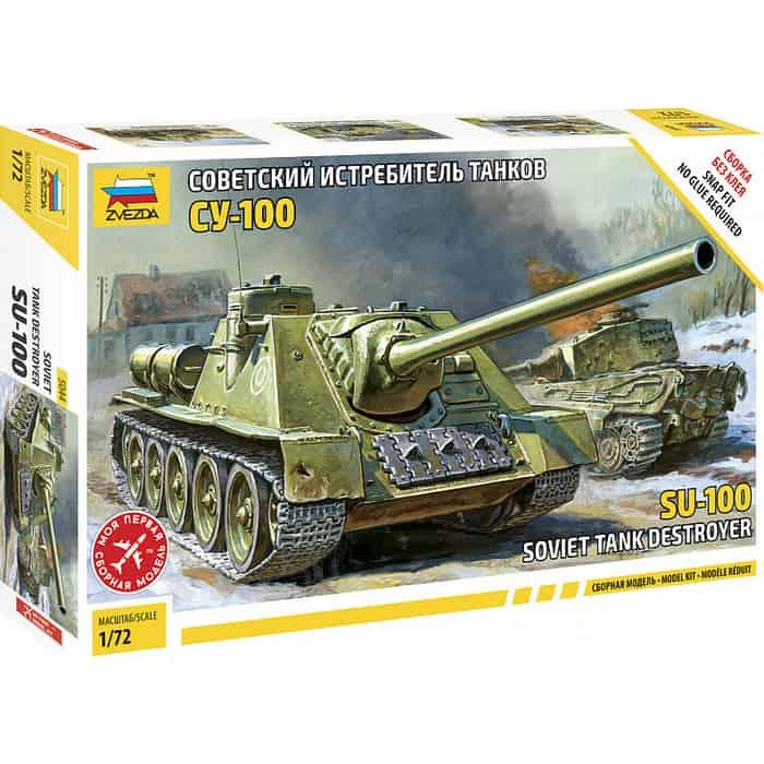 Сборная модель Звезда Советская САУ СУ - 100 (сборка без клея), 1/72 ZV 5044