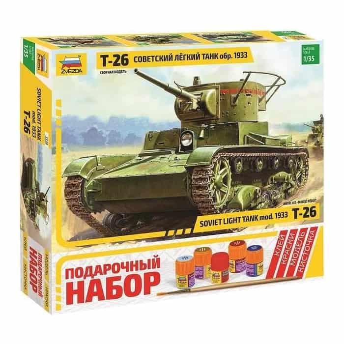 Фото - Сборная модель Звезда Советский легкий танк Т - 26 (обр. 1933 г.), подарочный набор, масштаб 1:35, ZV - 3538П сборная модель звезда советский тяжелый танк кв 2 подарочный набор 1 35 zv 3608п
