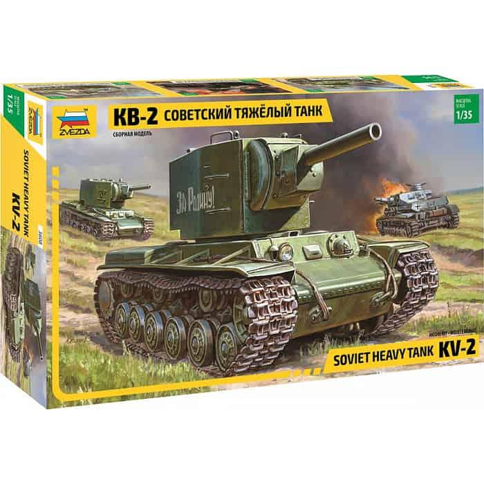 Сборная модель Звезда Советский тяжёлый танк КВ - 2, 1/35 ZV 3608