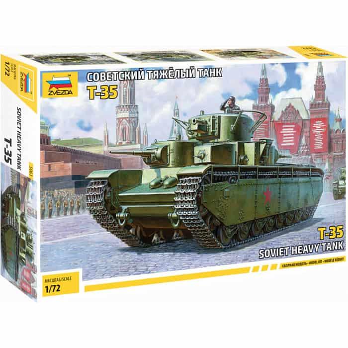 Фото - Сборная модель Звезда Советский тяжёлый танк Т - 35, масштаб 1:72, ZV - 5061 сборная модель звезда советский тяжелый танк кв 2 подарочный набор 1 35 zv 3608п