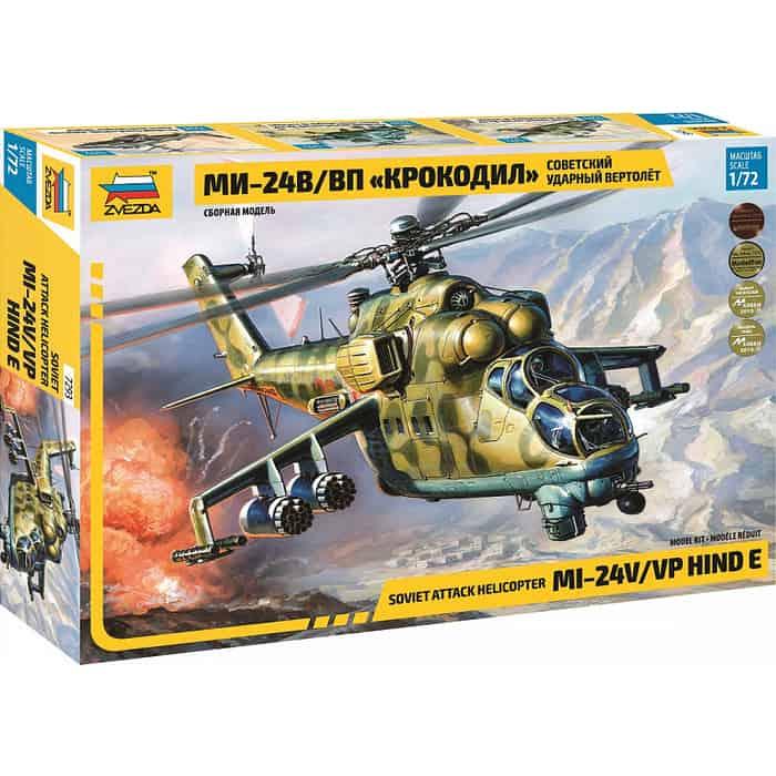 Сборная модель Звезда Советский ударный вертолет Ми - 24В/ВП Крокодил, 1/72 ZV 7293