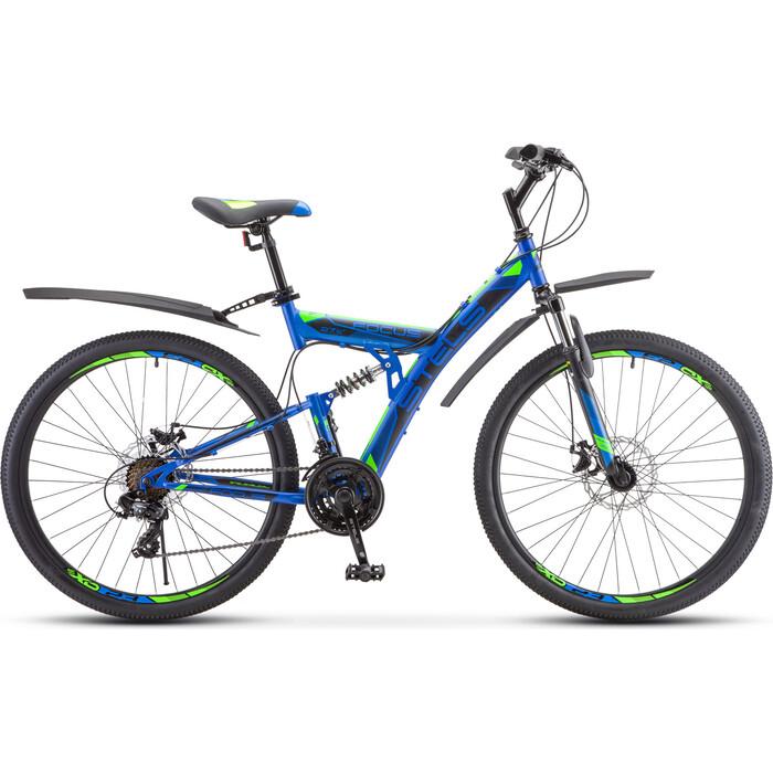 Велосипед Stels Focus MD 27.5 21-sp V010 19 Синий/неоновый_зелёный