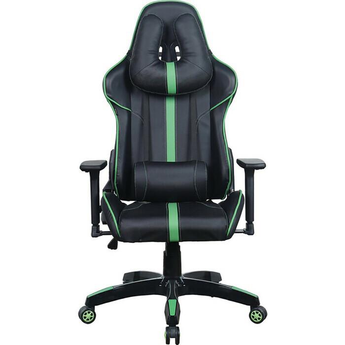 Кресло компьютерное Brabix GT Carbon GM-120 две подушки экокожа черное/зеленое 531929