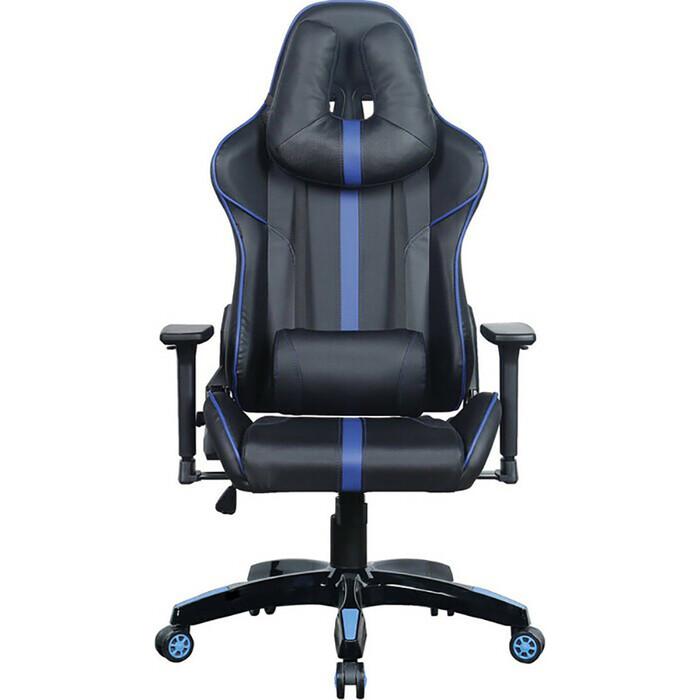 Кресло компьютерное Brabix GT Carbon GM-120 две подушки экокожа черное/синее 531930