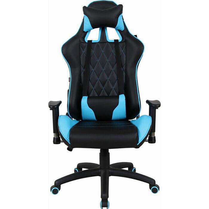Кресло компьютерное Brabix GT Master GM-110 две подушки экокожа черное/голубое 531928 roketas голубое компьютерное кресло mebelvia
