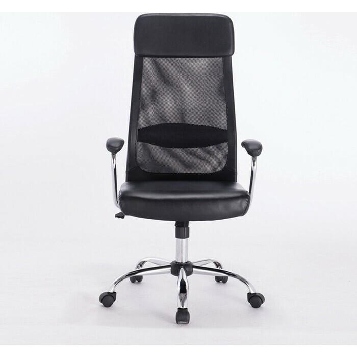 Кресло офисное Brabix Flight EX-540 хром экокожа/сетка черное 531850