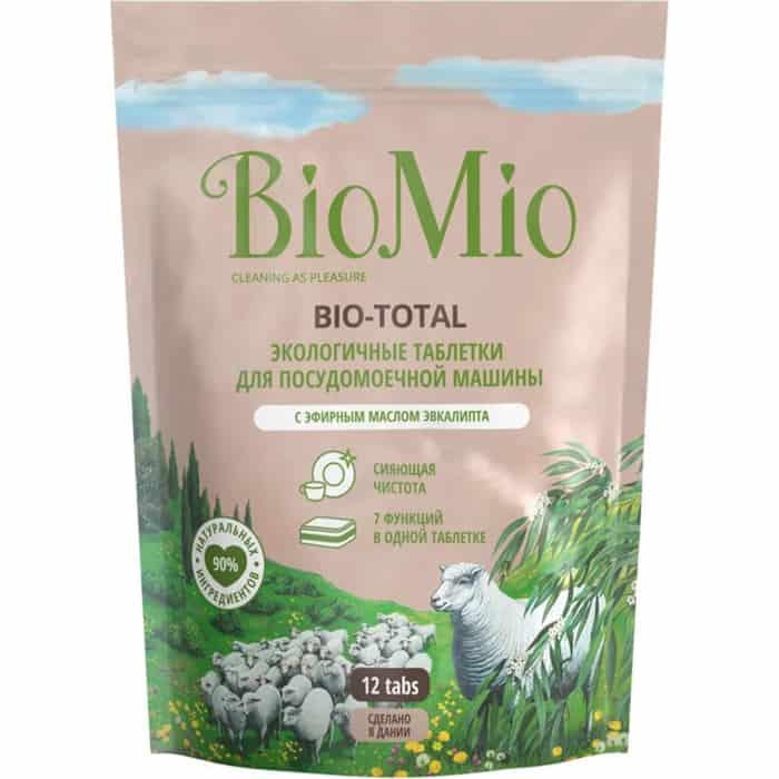 Таблетки для посудомоечной машины (ПММ) BioMio BIO-TOTAL с маслом эвкалипта, 12 шт